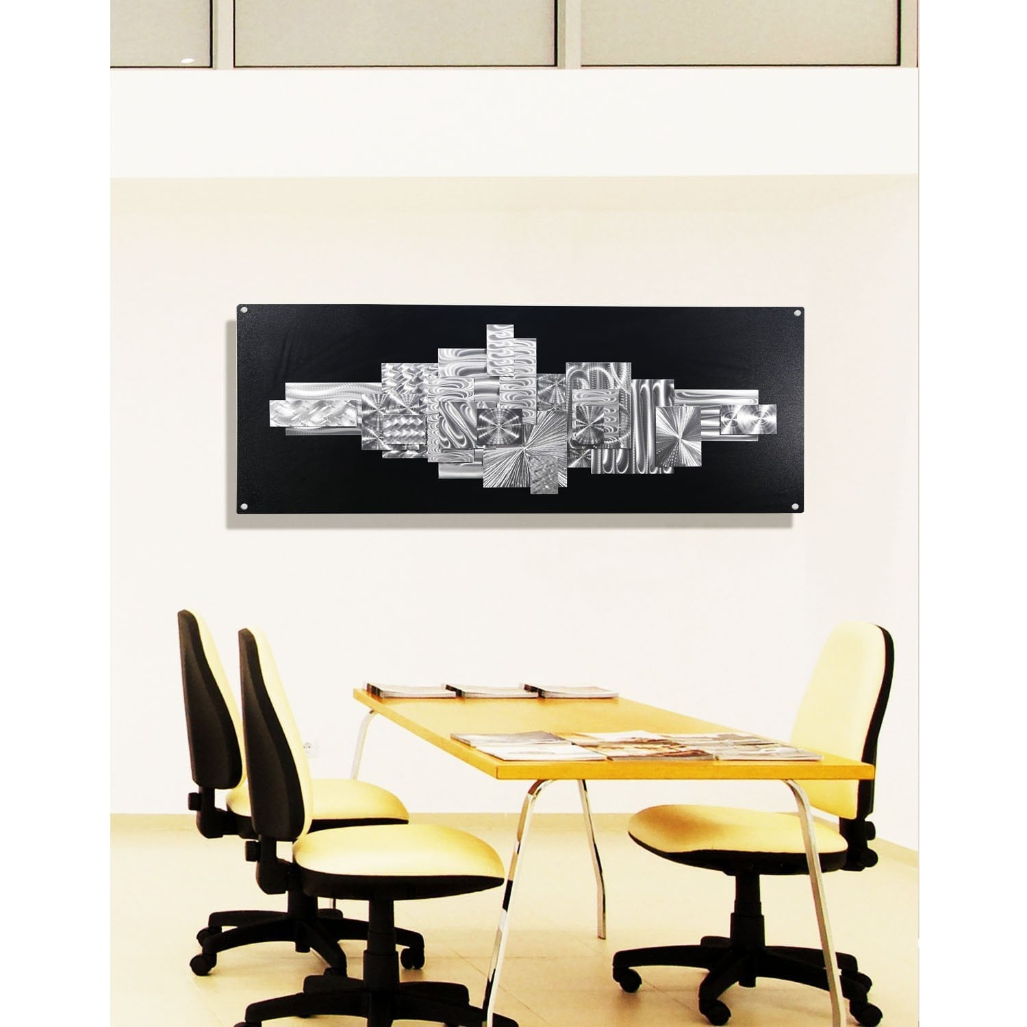 Statements2000 Black Silver Large Abstract Metal Wall Art Sculpture By Jon Allen Time Suspended 2