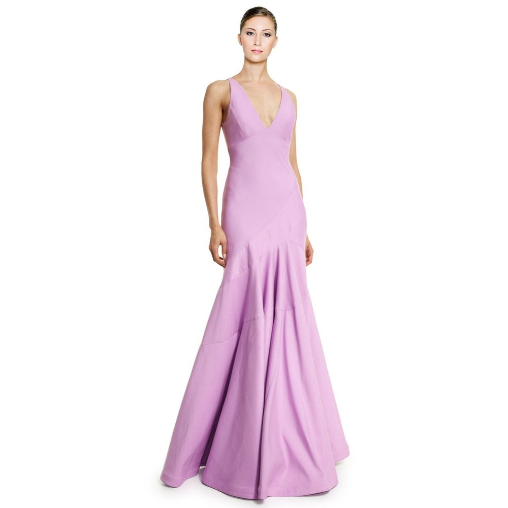 Shop Halston Heritage Bias Cut Faille Sleeveless V-Neck Evening Gown ...