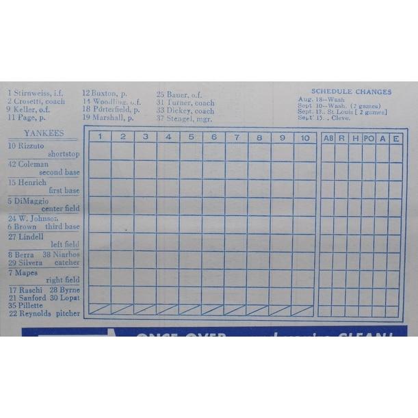 New York Yankees 1949 Yankee Stadium Home of the Champions Program & Score  Card