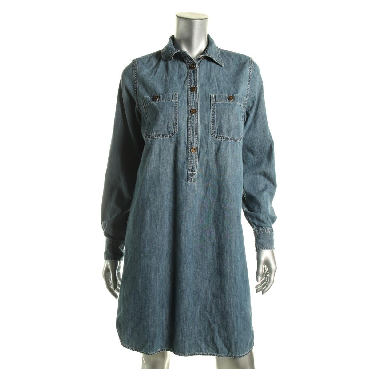 Shop American Living Womens Shirtdress Denim Button Down Free