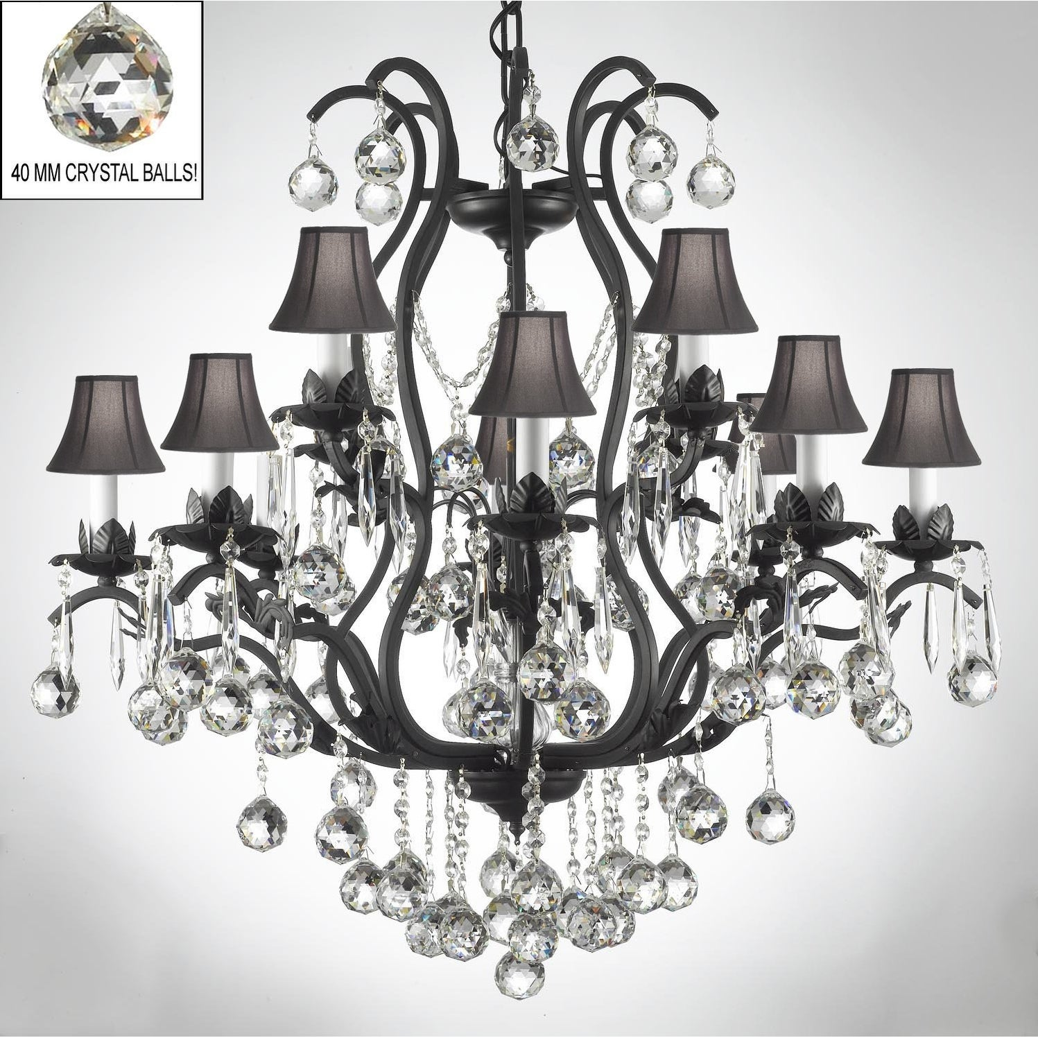 Swarovski Elements Crystal Trimmed Wrought Iron Chandelier Lighting With Faceted Blac On Free Today