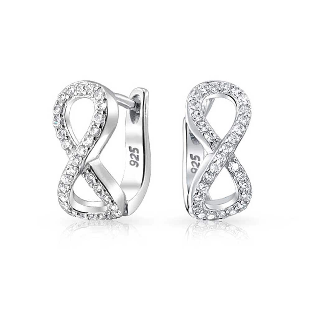 Bling Jewelry Sterling Silver Pave Cubic Zirconia Infinity Small Hoop Earrings On Free Shipping Orders Over 45 17985817