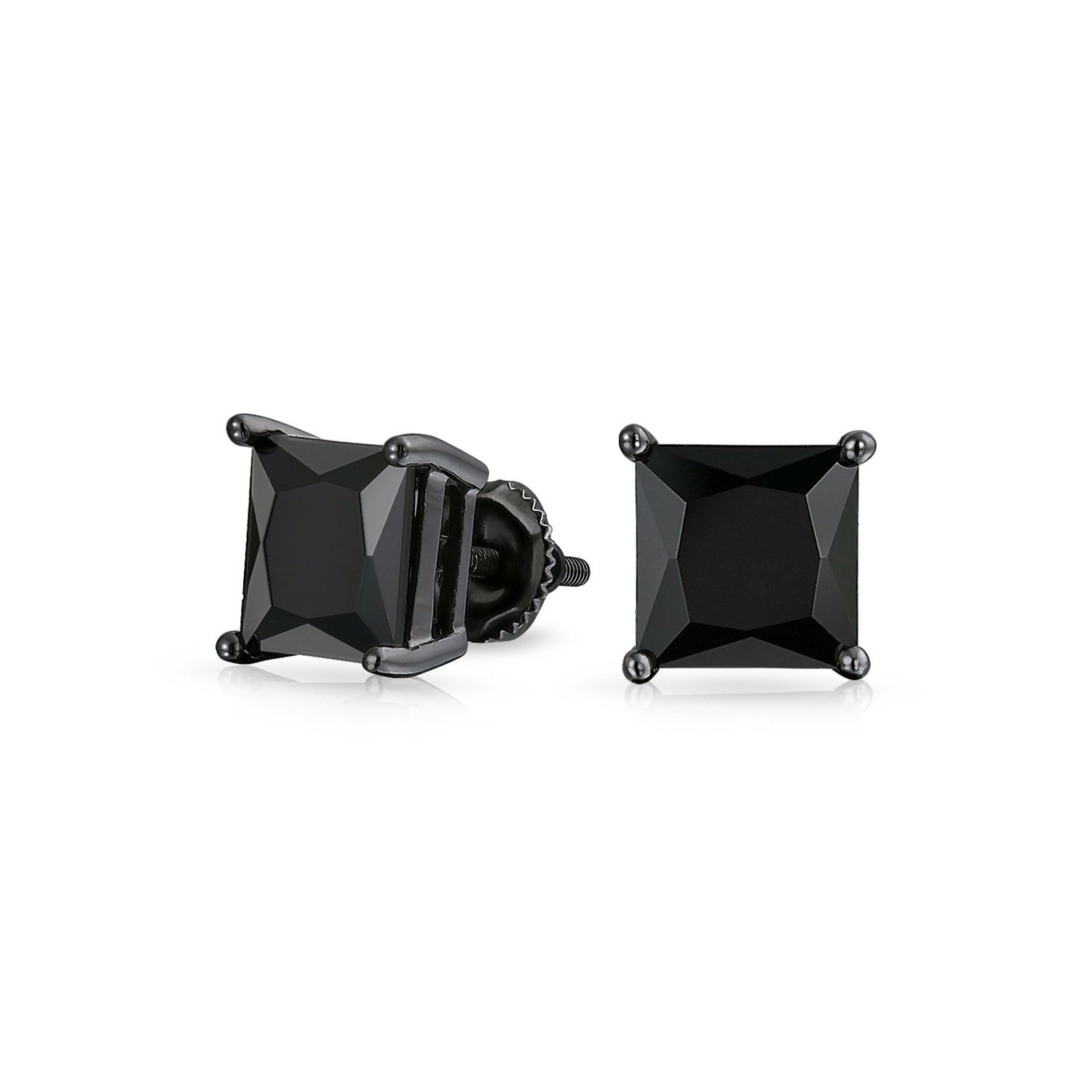 17d51f37d 1.5CT Black On Black Square Princess Cut Cubic Zirconia Stud Earrings For Men  Women CZ Screw Back Plated Sterling Silver