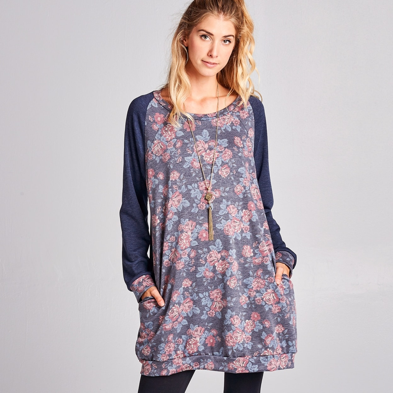 Shop Floral French Terry Sweatshirt Dress with Pockets - On Sale ... 17b41106b