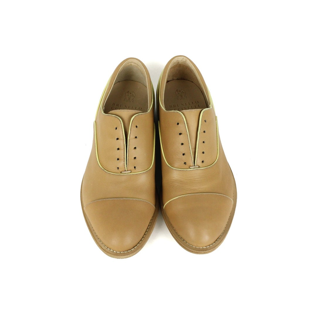 fa4e43ab235 Shop Brunello Cucinelli Womens Light Brown Yellow Leather Loafers - Free  Shipping Today - Overstock - 22995209