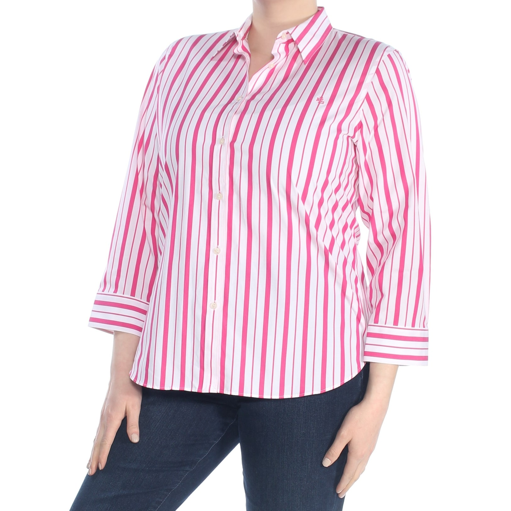 Ralph Lauren Womens Pink Striped Long Sleeve Collared Button Up Wear To Work Top Size Xl