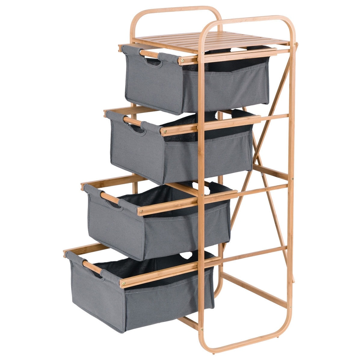 Shop Costway 4 Sliding Drawer Bamboo Dresser Storage Unit Organizer Laundry H&er Rack - Free Shipping Today - Overstock.com - 20476006  sc 1 st  Overstock.com & Shop Costway 4 Sliding Drawer Bamboo Dresser Storage Unit Organizer ...