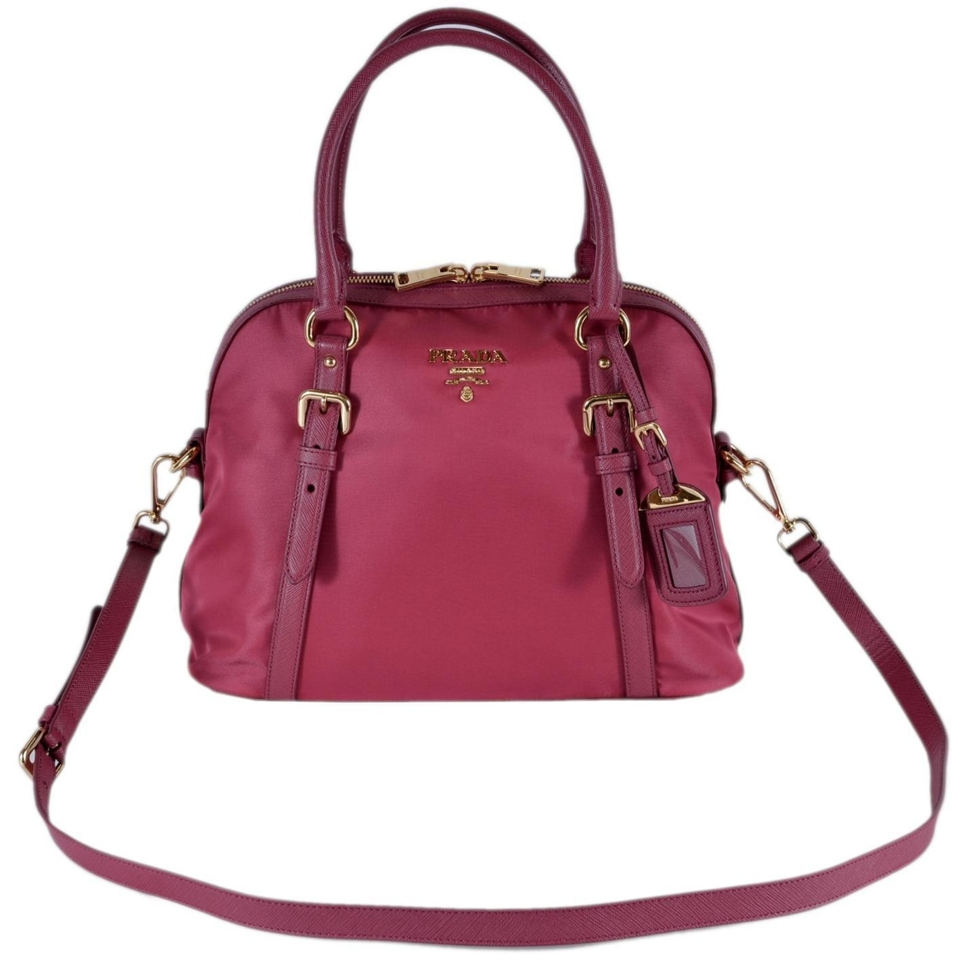 bced508b8f4f Shop Prada 1BB013 Tessuto Ibisco Pink Nylon Bauletto Satchel Purse W Strap  - On Sale - Free Shipping Today - Overstock - 26042646