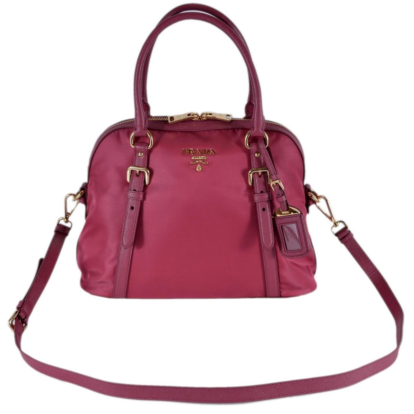 de6fb7157d Shop Prada 1BB013 Tessuto Ibisco Pink Nylon Bauletto Satchel Purse W ...