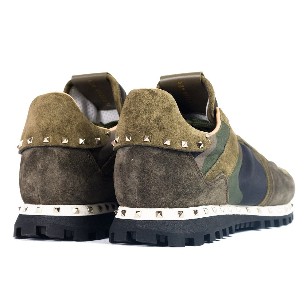 c6cee9f76d Shop Valentino Garavani Mens Green-Mix Camo Rockstud Sneakers - Free  Shipping Today - Overstock - 19419630