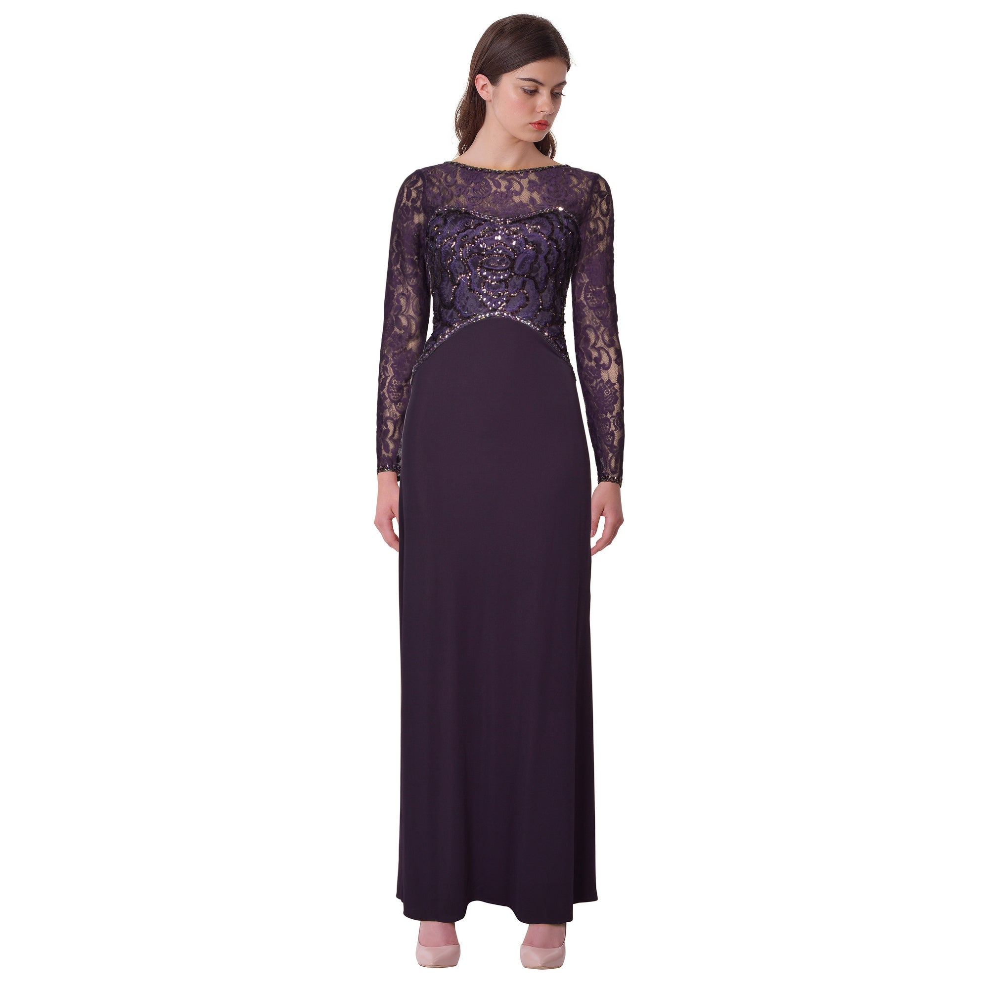 Shop Sue Wong Sequin Embellished Lace Long Sleeve Jersey Evening ...