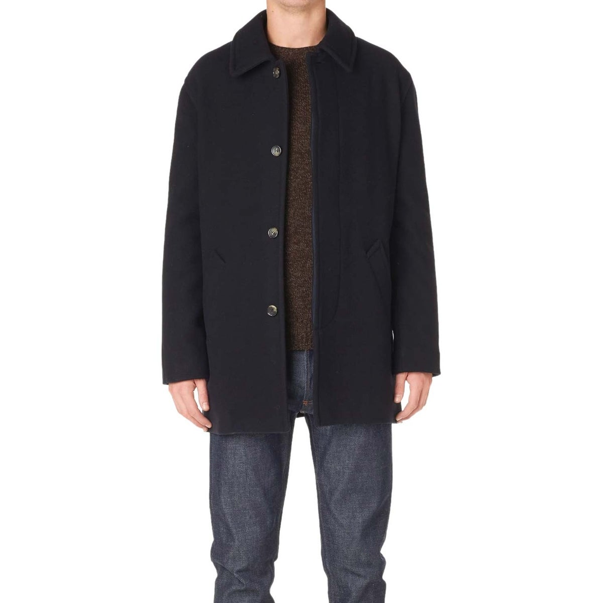 91715a9f709 Shop A.P.C. Sven Mac Coat Large Dark Navy Wool Blend Fully Lined - Free  Shipping Today - Overstock - 21956585