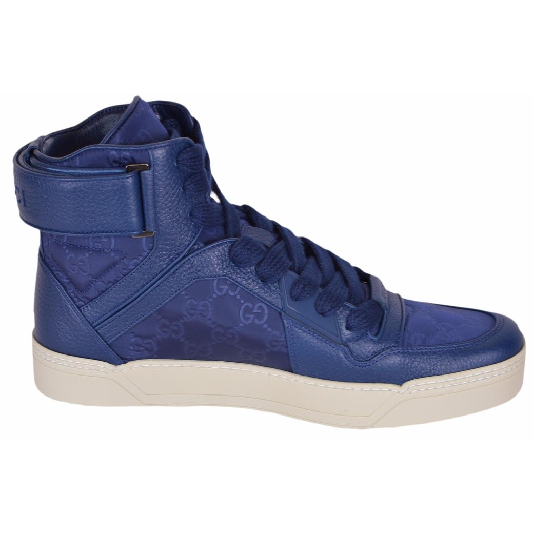 7a366581f63 Shop Gucci Men s Blue Nylon GG Guccissima High Top Sneakers Trainers Shoes 8  - Free Shipping Today - Overstock - 19475337