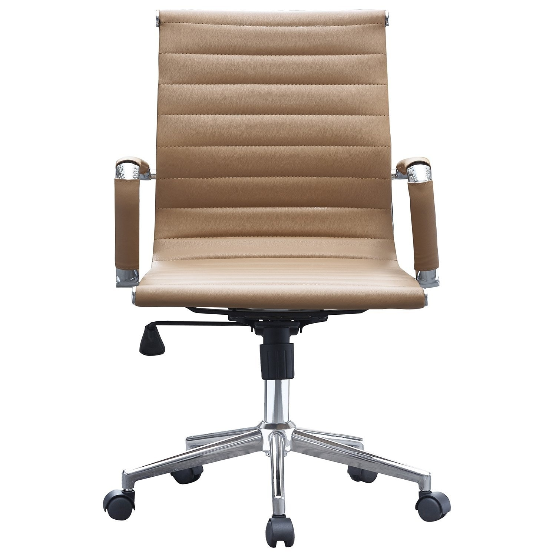 Shop 2xhome Tan Modern Ergonomic Mid Back Pu Leather Executive