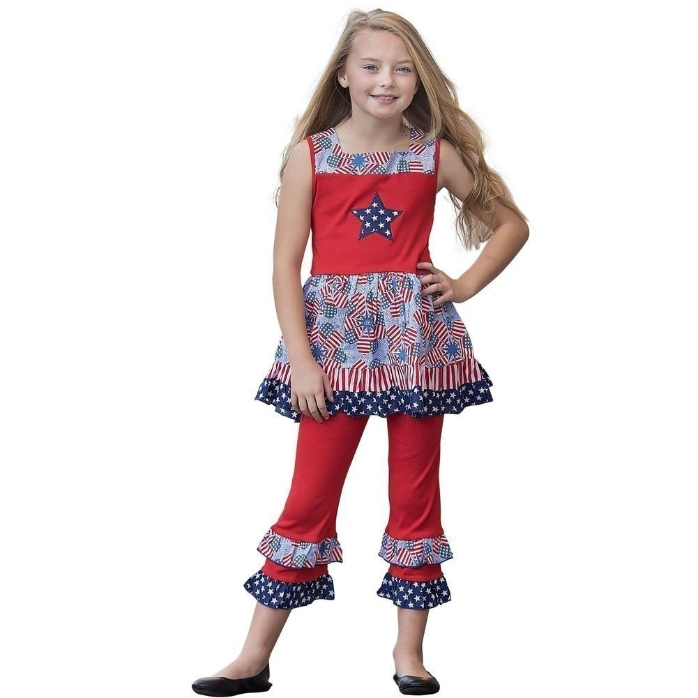 e9ff5226b Shop AnnLoren Girls Red Blue Star American Flag Dress Capri Outfit ...