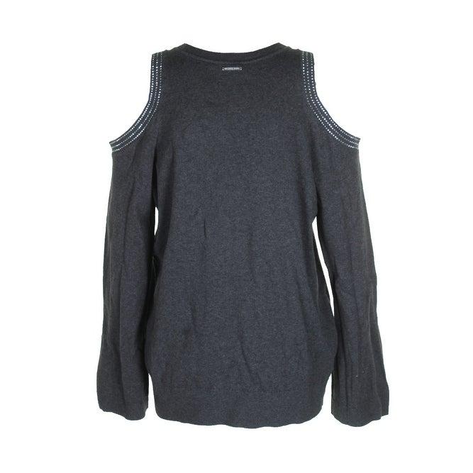 22848b9d62c Michael Michael Kors Charcoal Bell-Sleeve Cold-Shoulder Studded Sweater XL