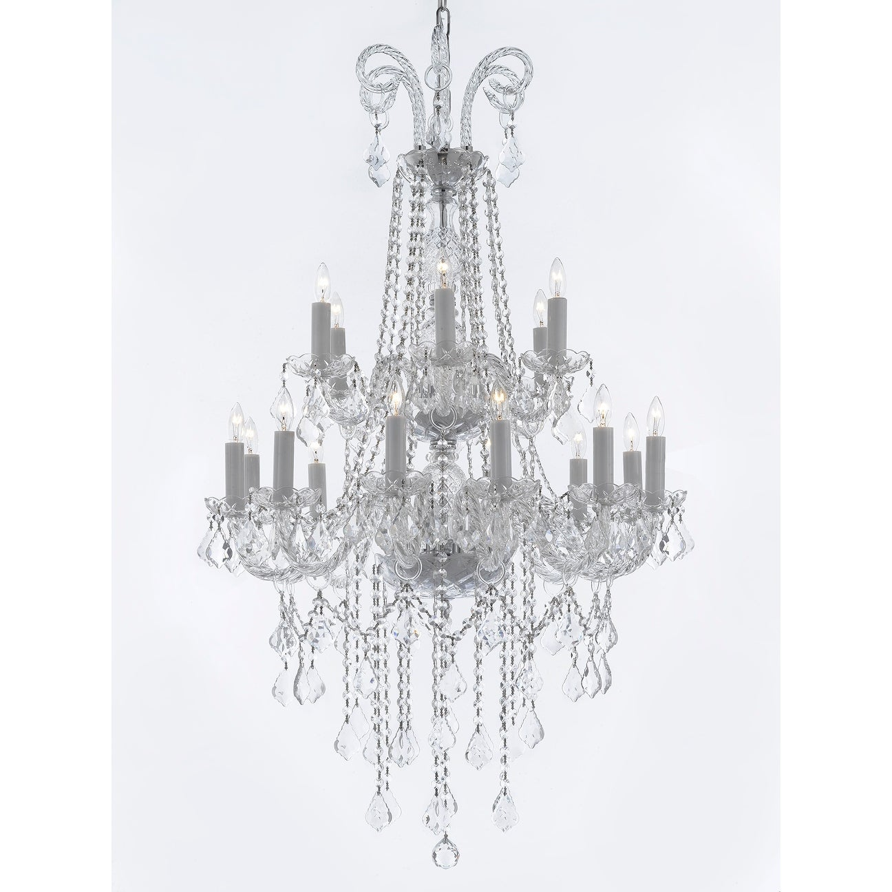 Crystal 18 light traditional chandelier 2 tier free shipping today crystal 18 light traditional chandelier 2 tier free shipping today overstock 18875857 arubaitofo Image collections