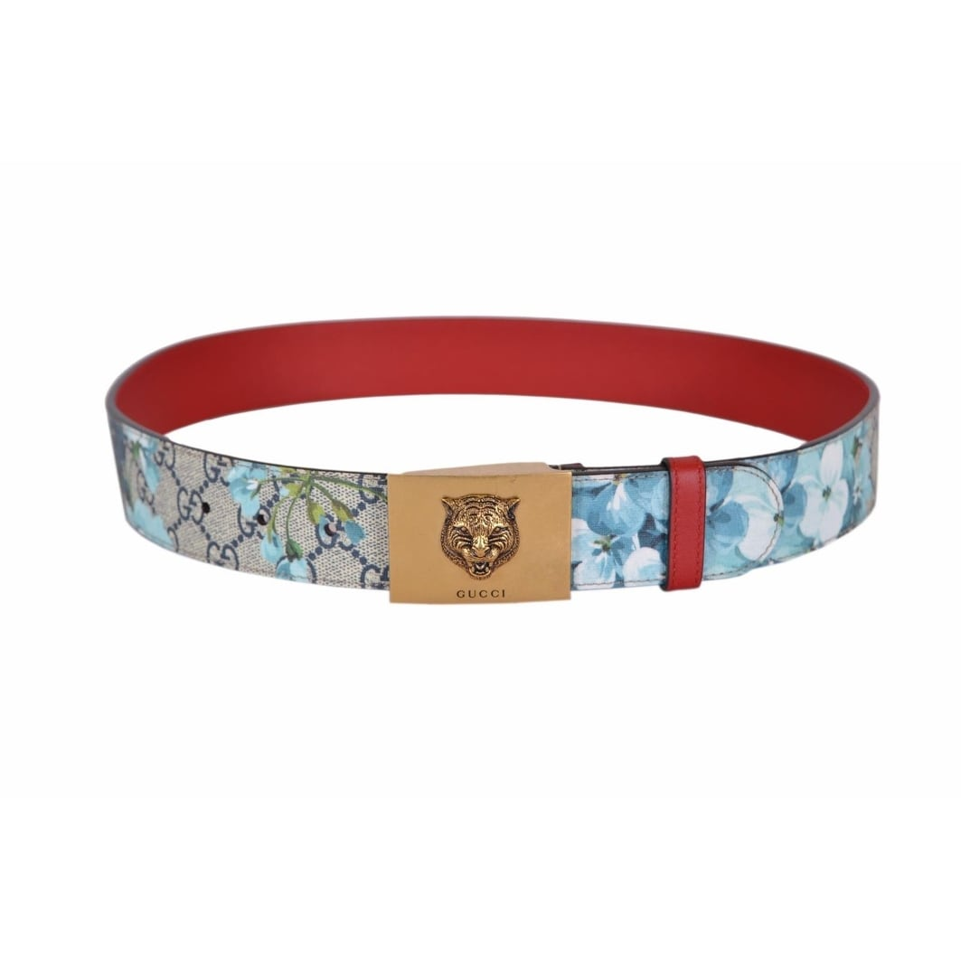 76cb128cb15 Shop New Gucci Women s 434559 Blue GG Blooms Feline Plaque Buckle Belt 38  95 - Ships To Canada - Overstock - 18945336