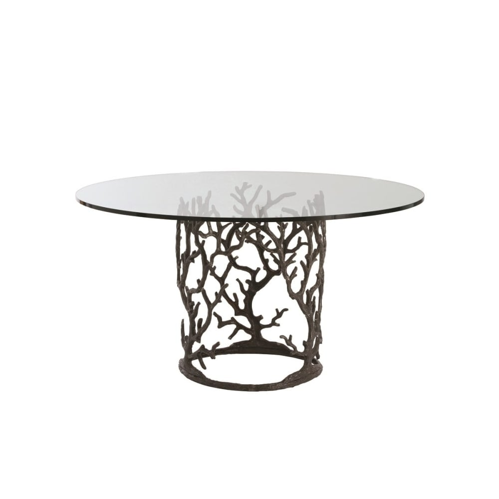 Shop arteriors 3195 60 ursula 60 diameter glass top dining table n a free shipping today overstock com 22905863