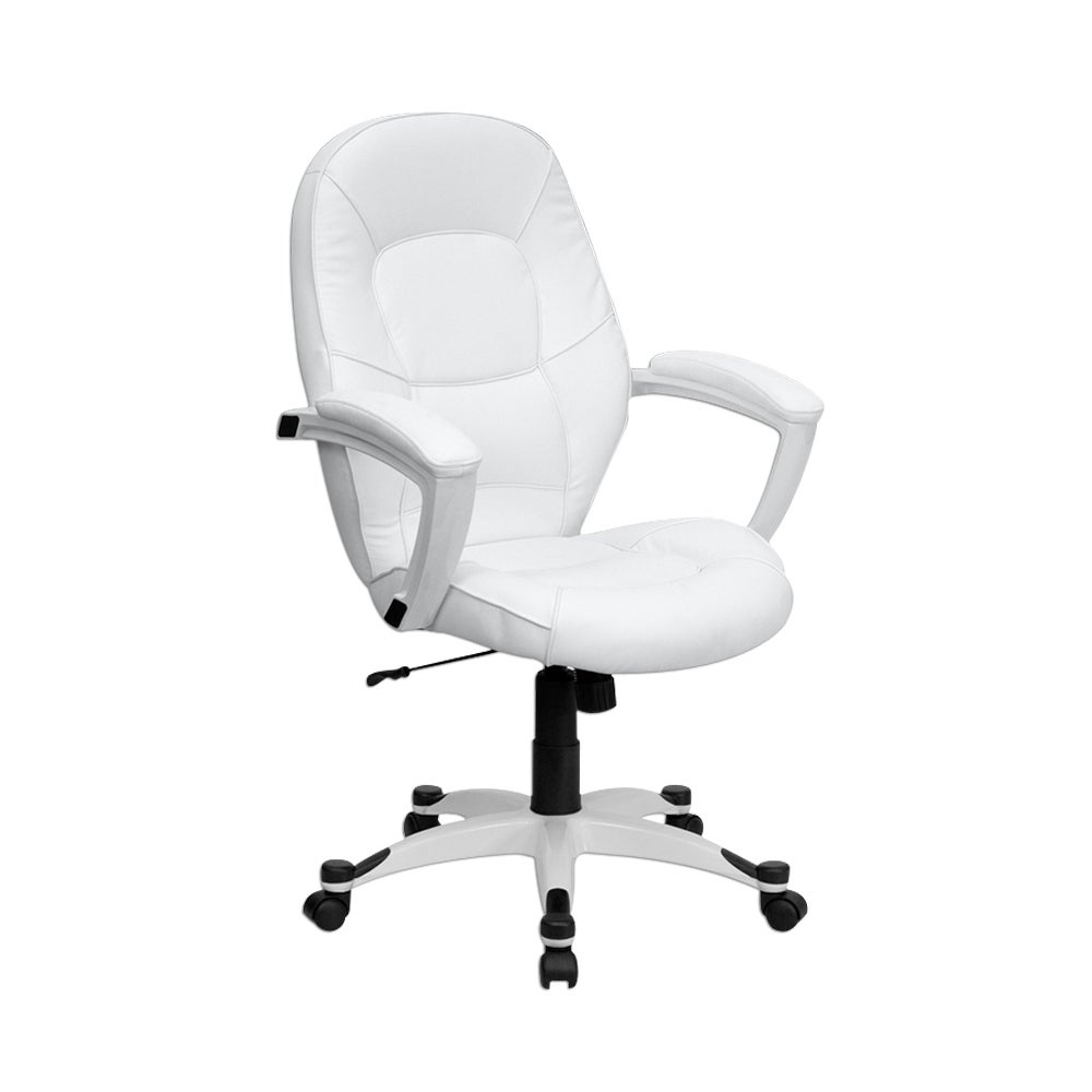 Offex Mid-Back White Leather Executive Office Chair [OF-QD-5058M-WHITE-GG]
