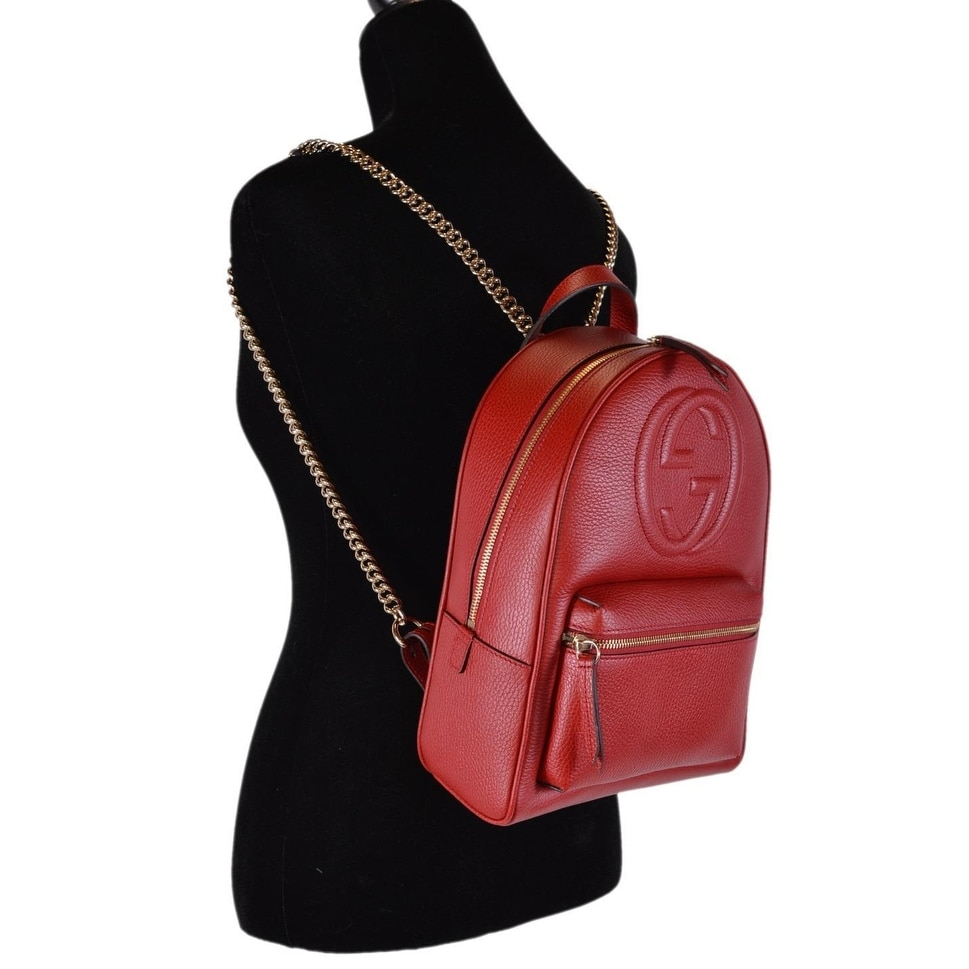 c4c0fba1db69 Shop Gucci Women's Red Leather SOHO Chain Strap Small Backpack Purse Bag - Free  Shipping Today - Overstock - 25575972