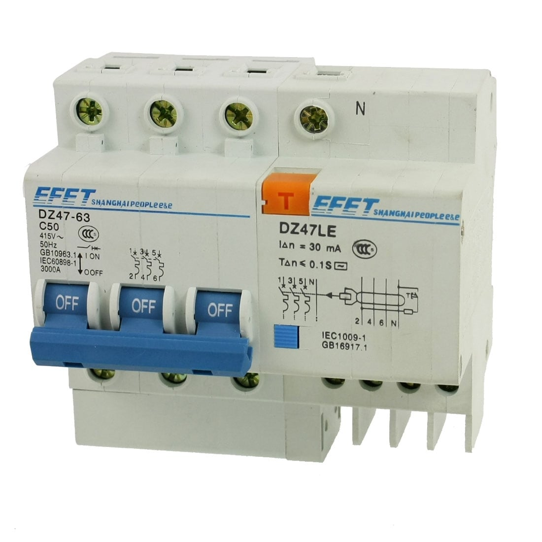 Shop Dz47 63 C50 3p Mcb Mini Circuit Breaker W Dz47le Earth Leakage House China High Quality On Sale Free Shipping Orders Over 45 18466138