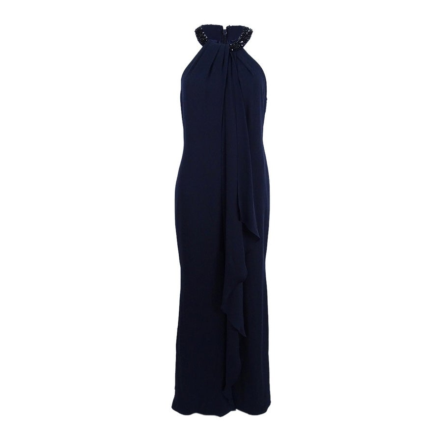 100d0ffc23c0 Shop Calvin Klein Women s Beaded-Neck Halter Gown - On Sale - Free Shipping  Today - Overstock - 22989181