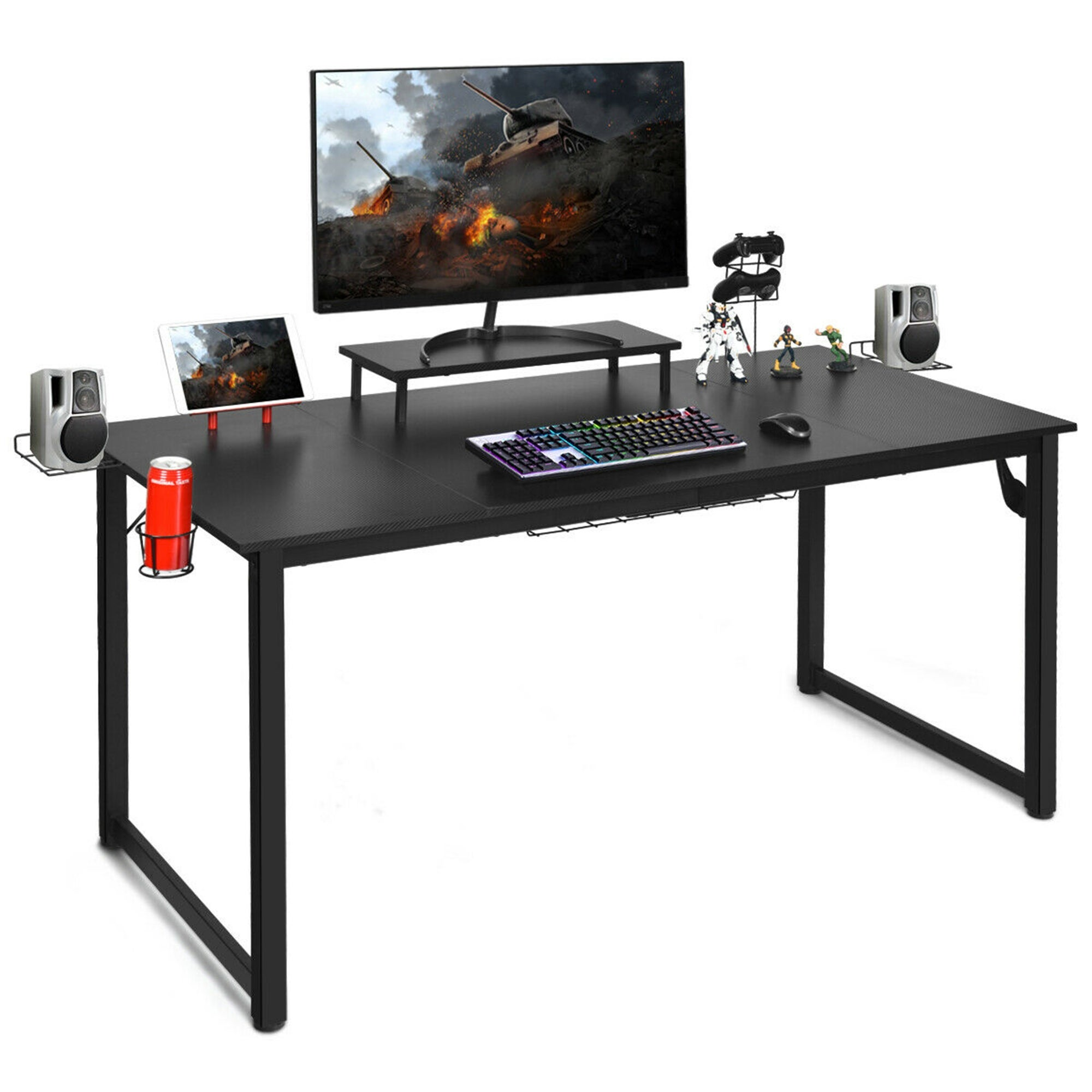 Gymax 63 Gaming Desk W Monitor Shelf Tablet Board Storage For Overstock 31960221