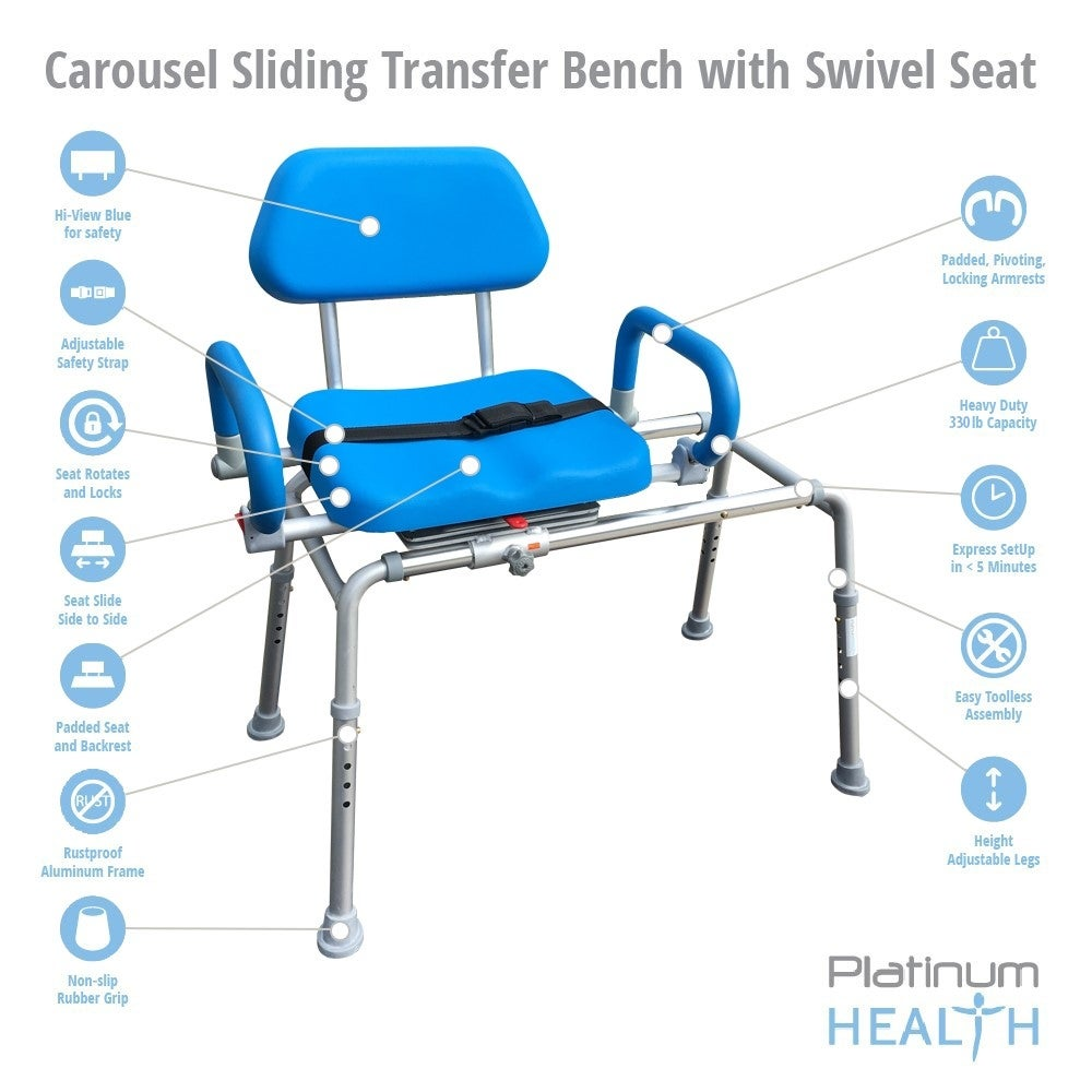 Shop Platinum Health CAROUSEL Sliding Transfer Bench with Swivel ...