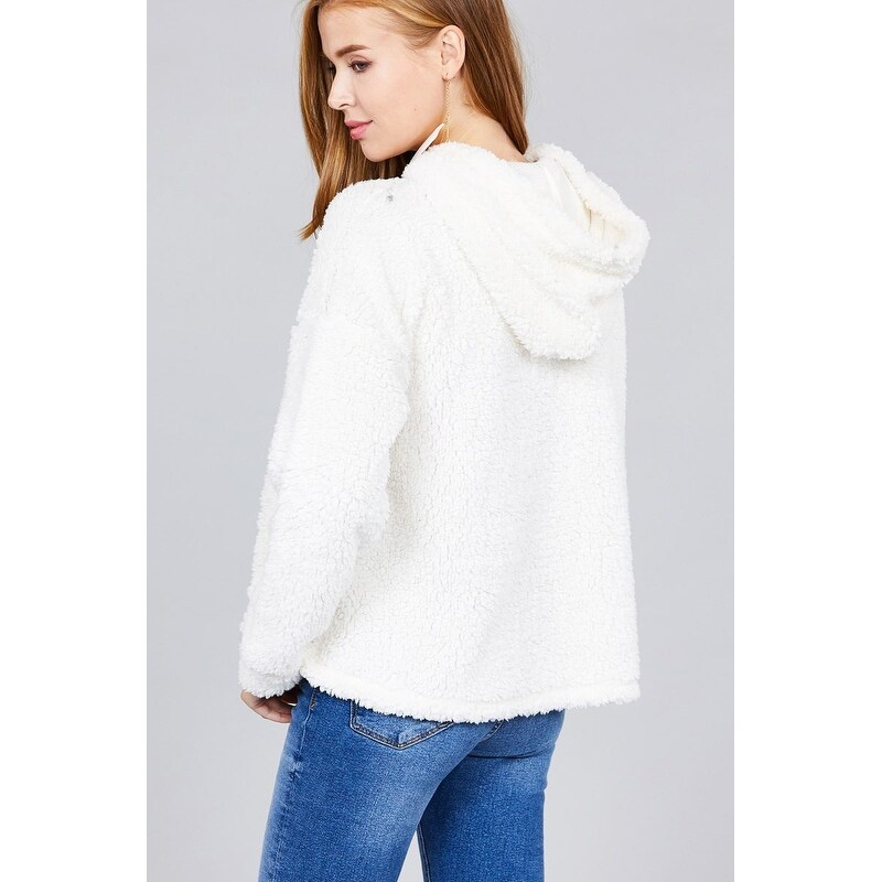 81b274b8d4 Shop Ladies fashion plus size long sleeve hoodie drawstring faux fur top -  Free Shipping On Orders Over  45 - Overstock.com - 26272206