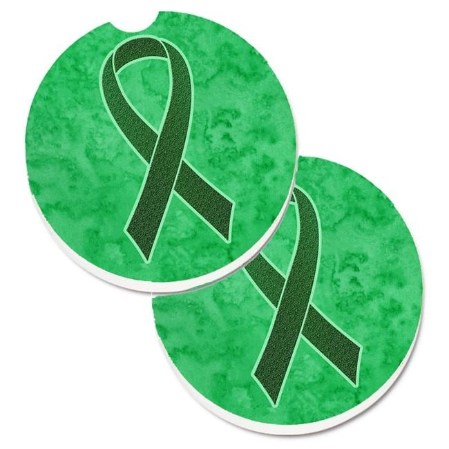 Emerald Green Ribbon For Liver Cancer Awareness Set Of 2 Cup Holde