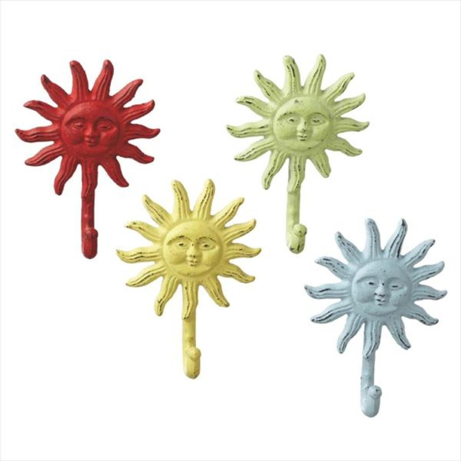 Pack of 8 Pastel Red, Yellow, Green and Blue Cast Iron Sun ...