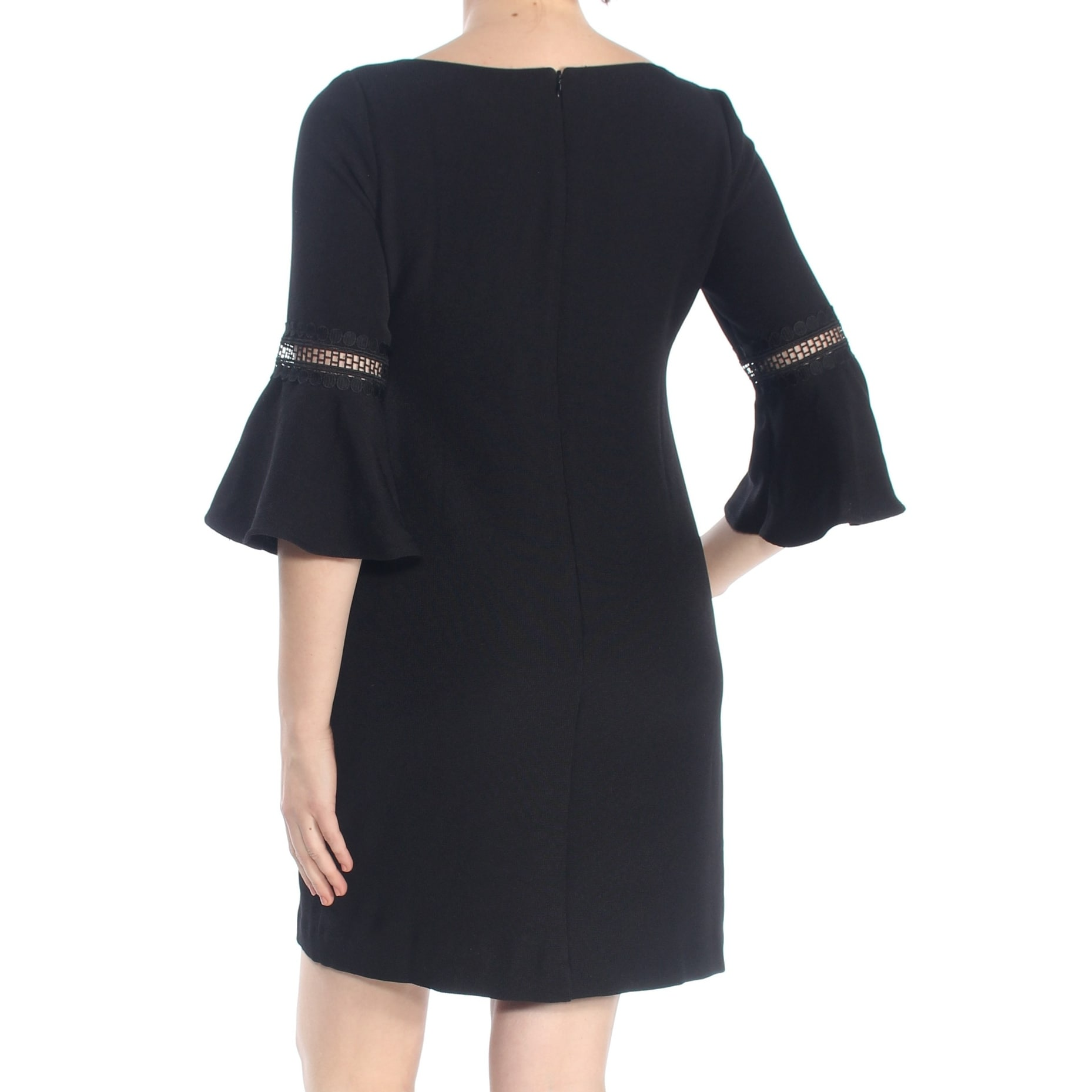 061261f15d45 Shop JESSICA HOWARD Womens Black Eyelet Bell Sleeve Boat Neck Mini Shift  Cocktail Dress Petites Size: 8 - Free Shipping On Orders Over $45 -  Overstock - ...