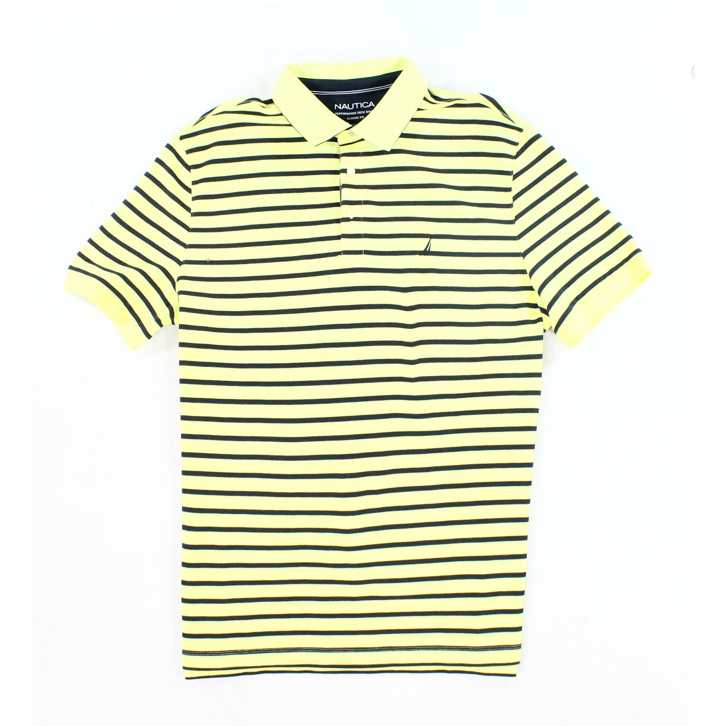 c004db1b Nautica NEW Yellow Mens Size XL Polo Slim-Fit Striped Short-Sleeve Shirt
