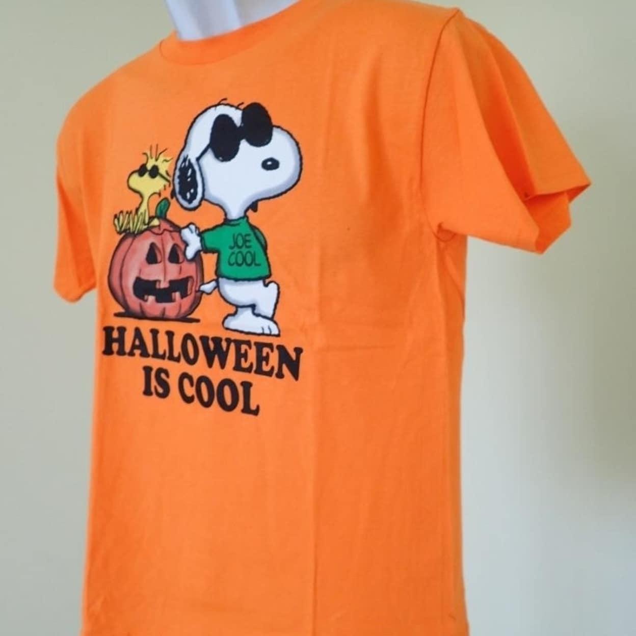 shop - peanuts halloween youth size medium m (8/10) orange t- shirt