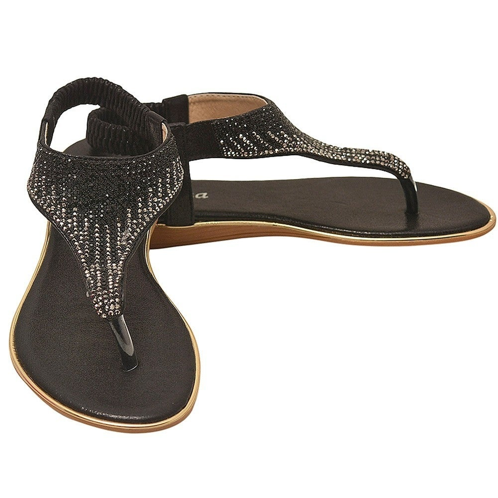 1a84140326b10 Shop Lucita Adult Black Sparkle Rhinestone Adorned Flip Flop Sandals - Free  Shipping On Orders Over  45 - Overstock.com - 21212269