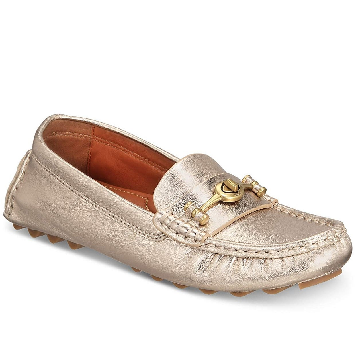 0ababcc547f5 Shop Coach Women's Crosby Driver Turnlock Flats Champagne - 10 ...