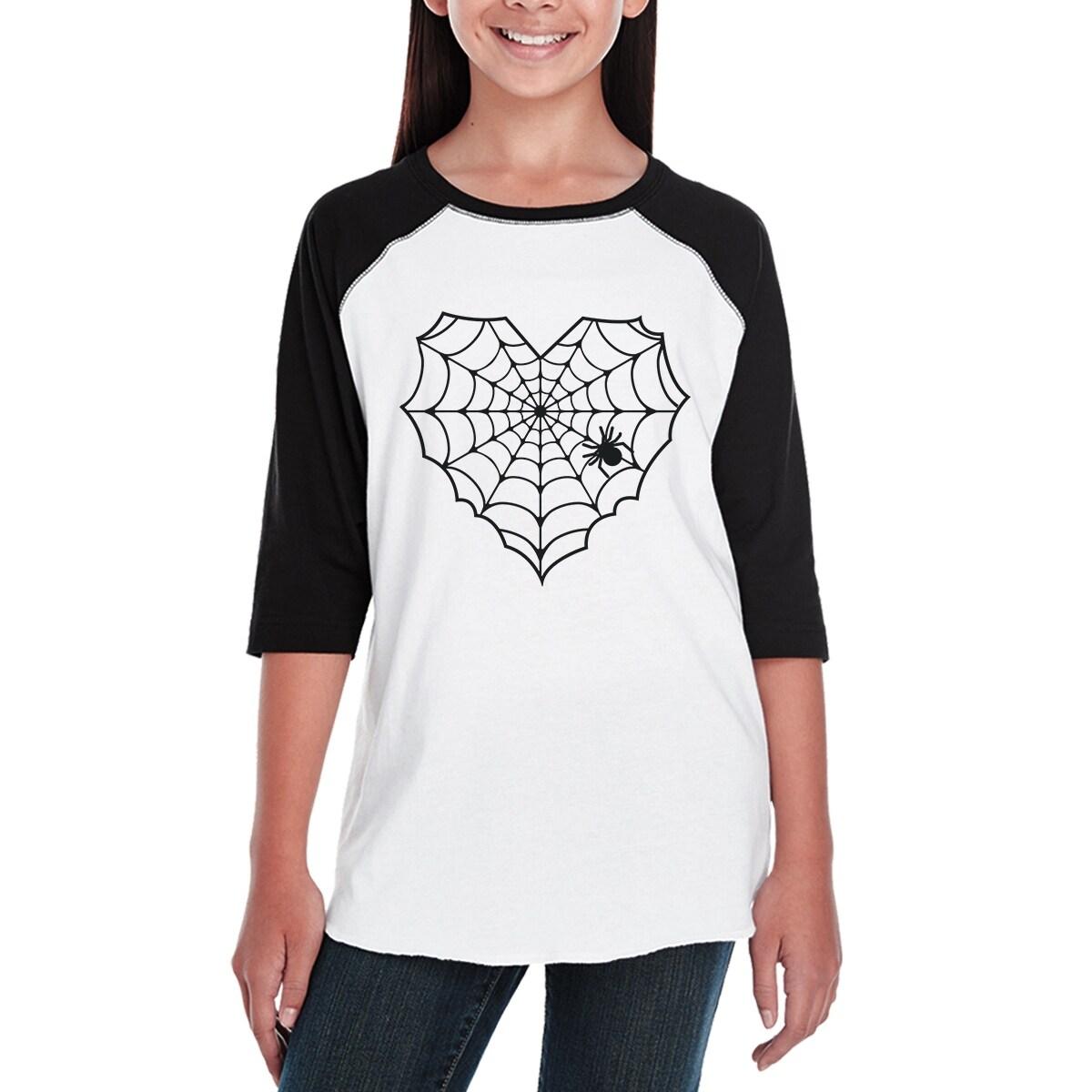 7ae12cda Shop Heart Spider Web Halloween Tshirt Youth Baseball Shirt Black Sleeve -  Free Shipping On Orders Over $45 - Overstock - 17745023