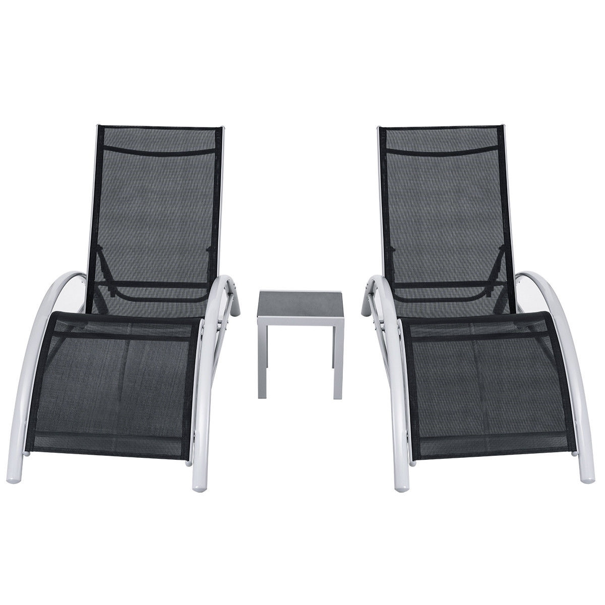 Shop 3 PCS Outdoor Patio Pool Lounger Set Reclining Garden Chairs Glass  Table   Free Shipping Today   Overstock.com   19626738