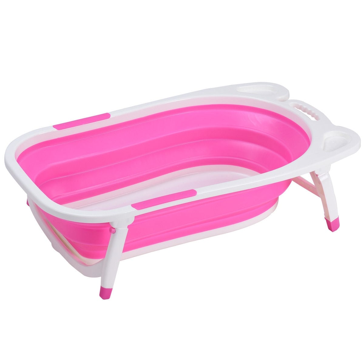 Gymax Pink Baby Folding Bathtub Infant Collapsible Portable Shower ...