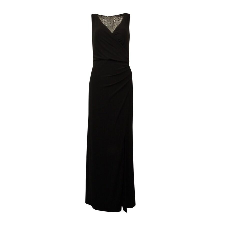 Patra Womens Side Slit Embellished Back Jersey Sheath Dress Black