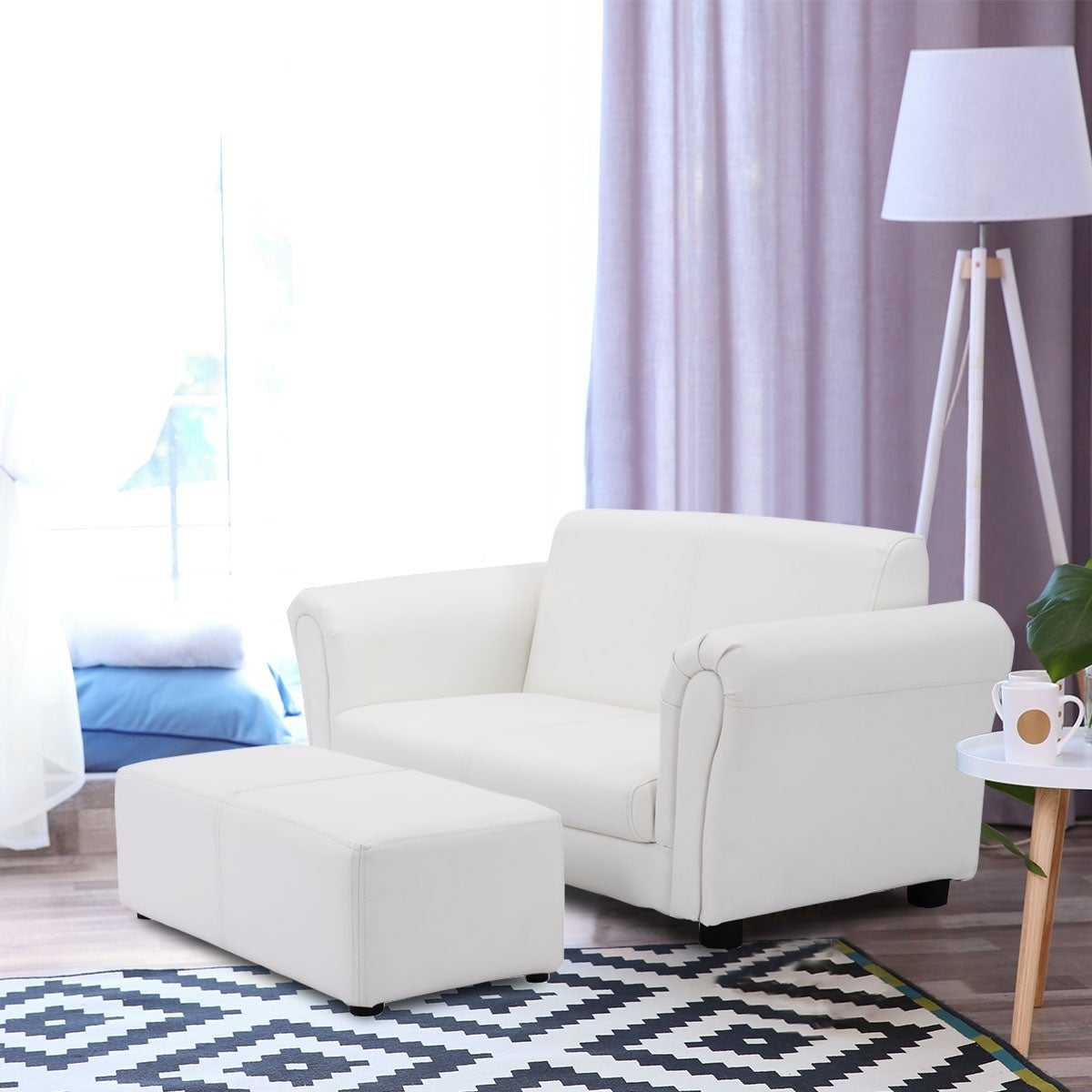 Shop Costway White Kids Sofa Armrest Chair Couch Lounge Children ...