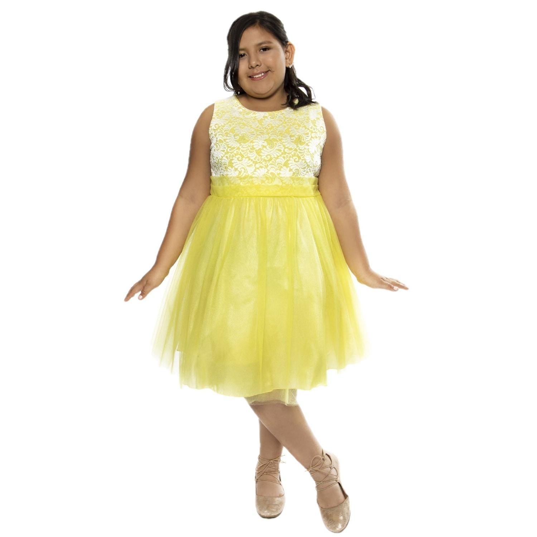 Shop Kids Dream Girls Yellow Lace Plus Size Junior Bridesmaid Dress ...