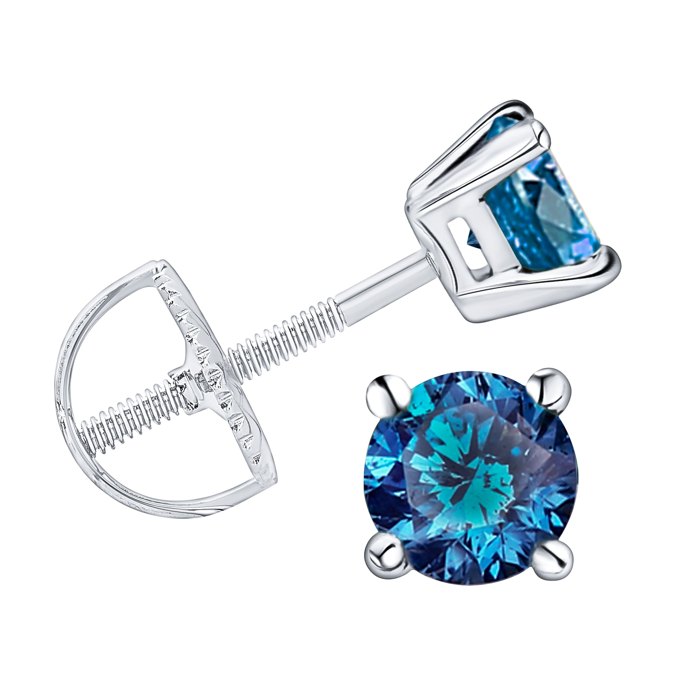 Prism Jewel Blue Color Diamond G Set Back Stud Earring