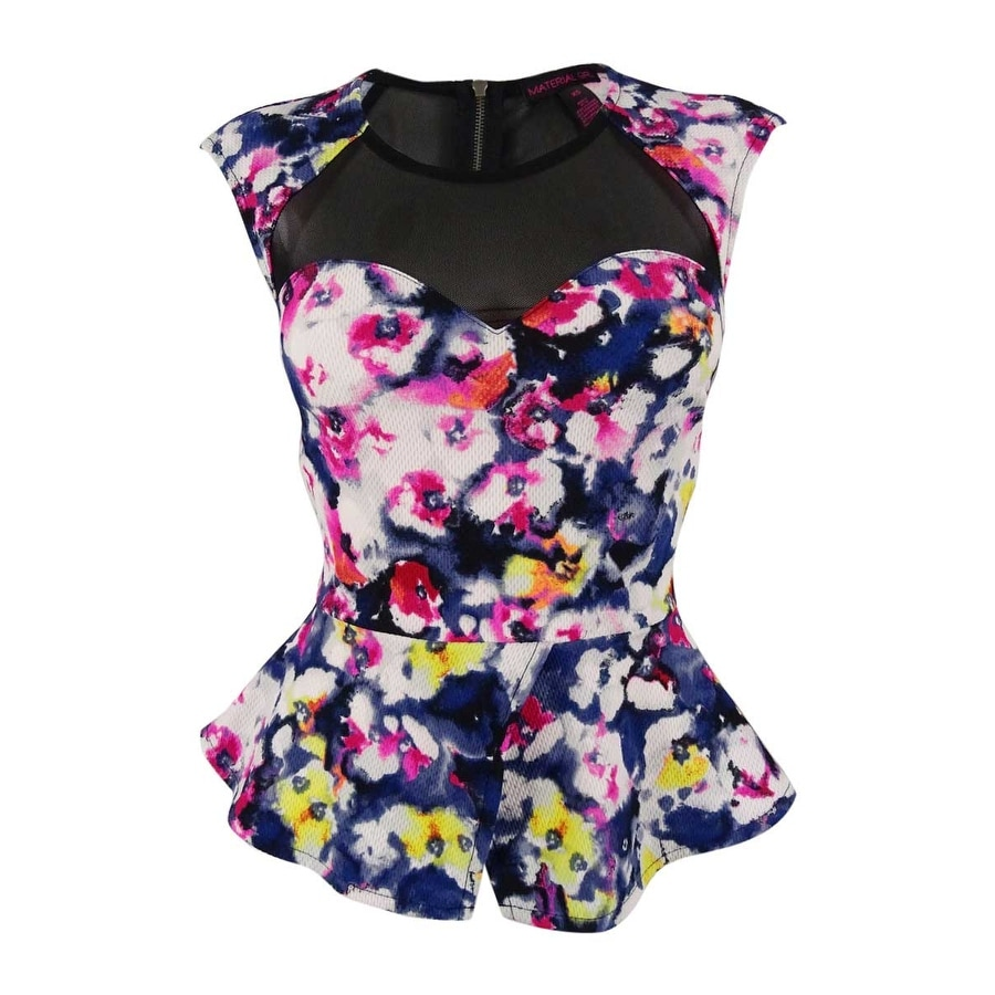17fe5938dc3 Shop Material Girl Juniors' Floral Print Peplum Top - caviar black combo -  Free Shipping On Orders Over $45 - Overstock - 14813153
