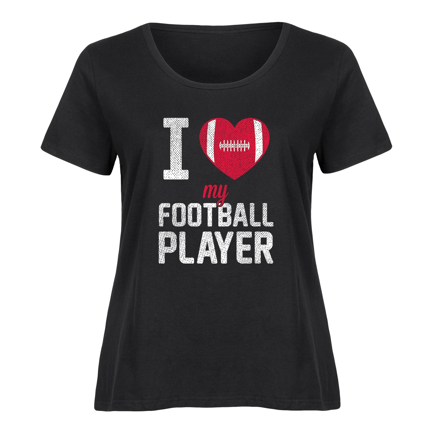 3267a19800 Shop I Heart My Football Player - Ladies Plus Size Scoop Neck Tee - On Sale  - Free Shipping On Orders Over  45 - Overstock.com - 20585437