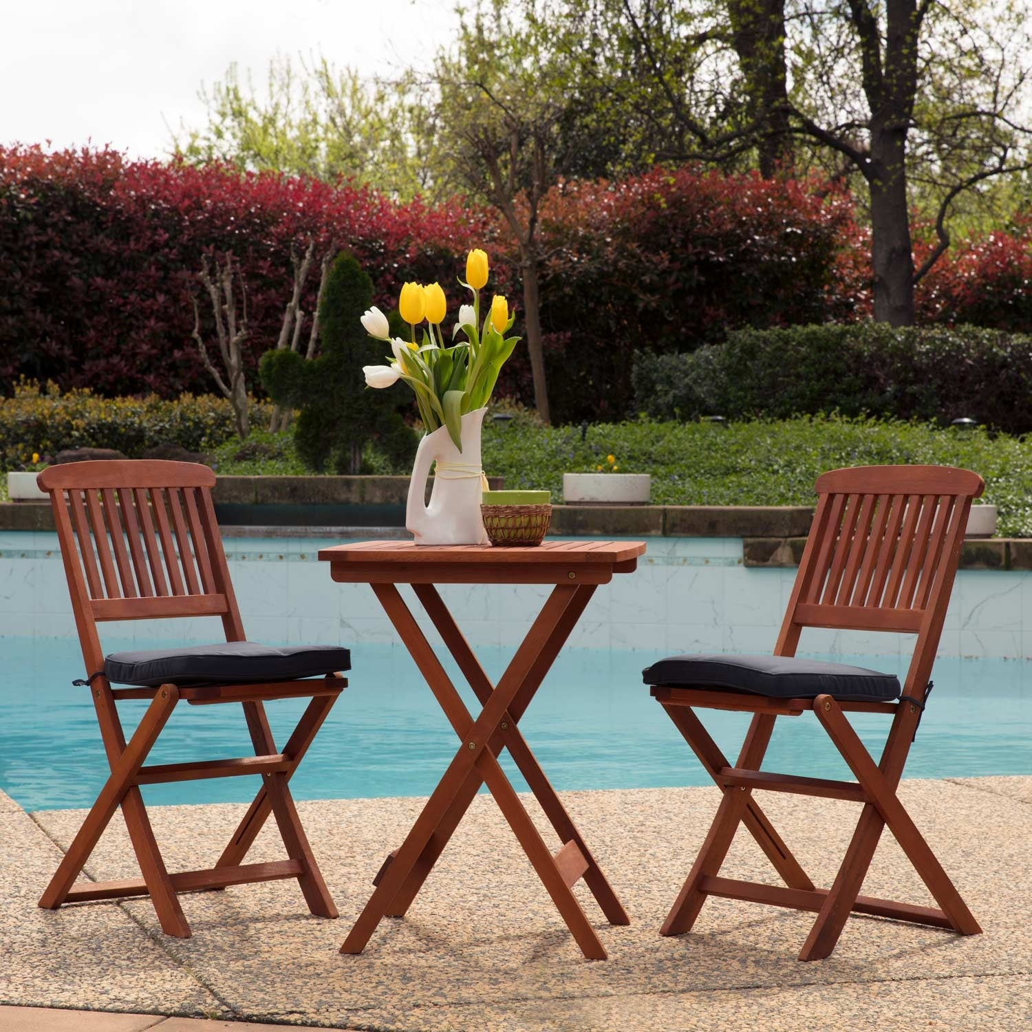 Shop sunward outdoor bistro sets patio table sets bistro set 3 piece folding coffee table free shipping today overstock com 14416075