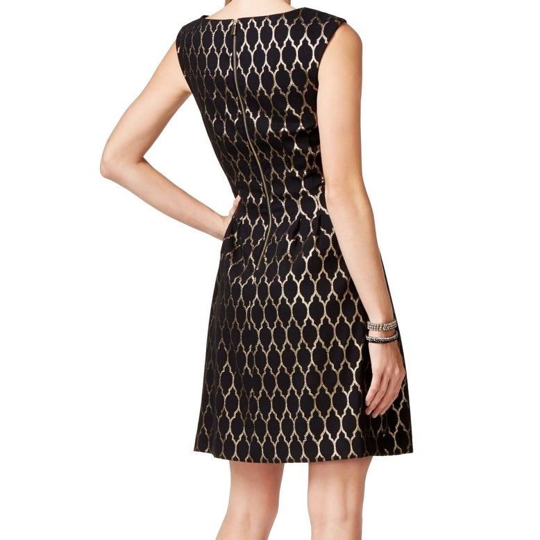 5cd6055cdf Shop Vince Camuto NEW Black Gold Women s Size 14 PLeated Sheath Dress -  Free Shipping On Orders Over  45 - Overstock - 18611427