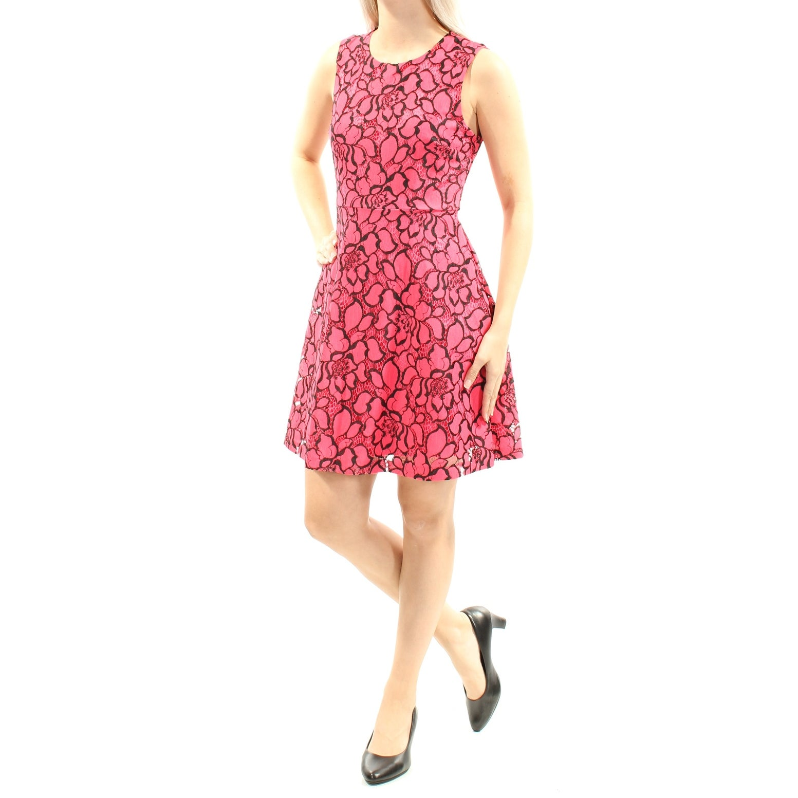 427b6ecc1b Shop MAISON JULES Womens Red Lace Floral Sleeveless Jewel Neck Mini Fit +  Flare Cocktail Dress Size: M - On Sale - Free Shipping On Orders Over $45  ...
