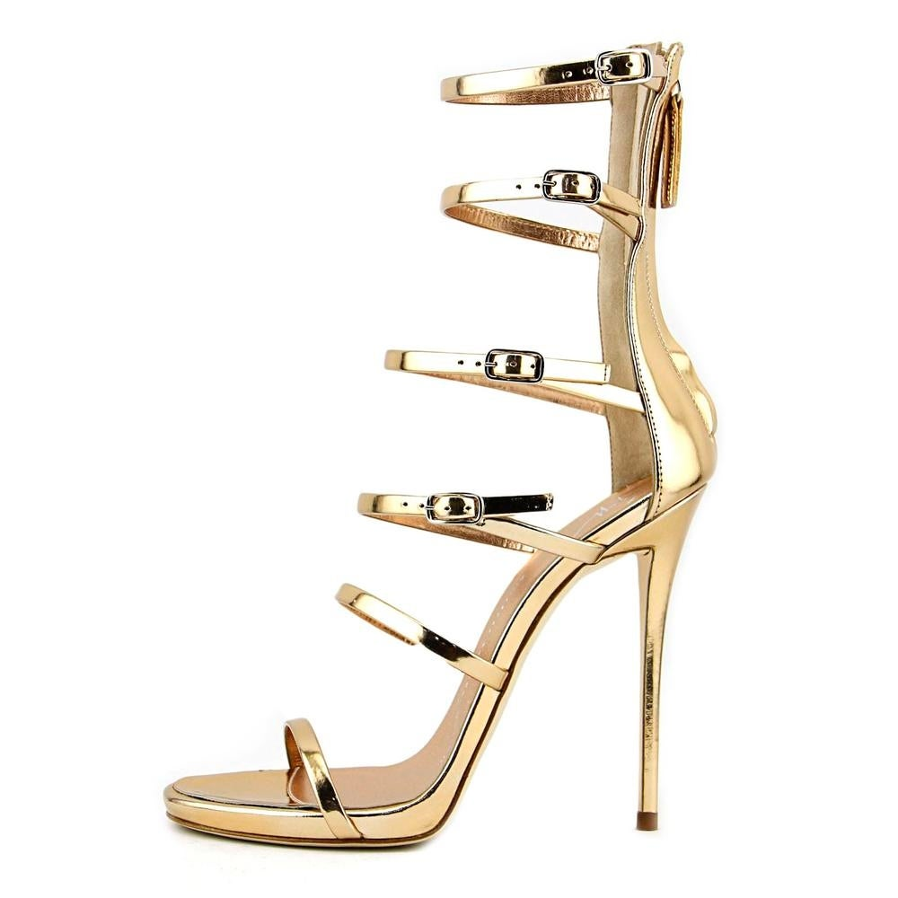 dca14bc34f4a7f Shop Giuseppe Zanotti Alien 115PL Women Open Toe Leather Gold Sandals -  Free Shipping Today - Overstock - 19446521
